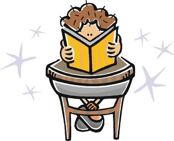 Child Reading At Desk Clipart.