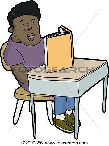 Clip Art of Student Reading at Desk k22090386.