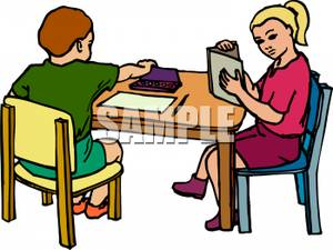 student reading at desk clipart #5