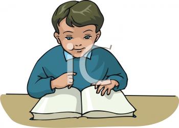 Clipart of a Boy Reading Through a Book at a School Desk.