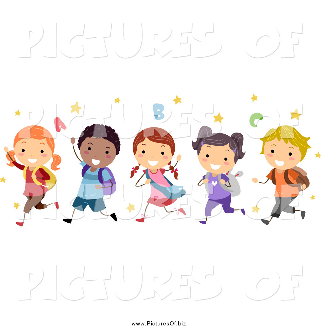 Vector Clipart of a Group of Happy Diverse Stick Students Running.