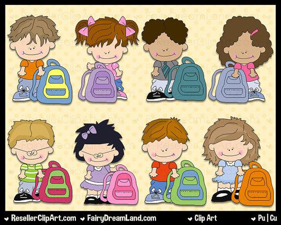 Backpack Kids Clip Art.