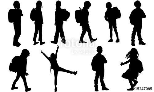 Back to School Kids Silhouette.