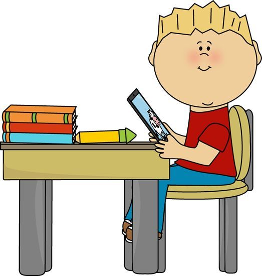 boy sitting at desk clipart.