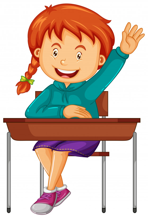 Girl student sit on the school desk Vector.