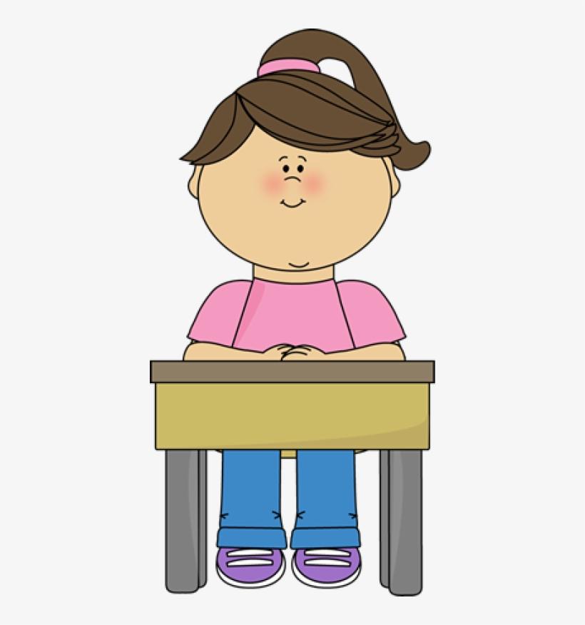 Student Sitting At Desk Gir.