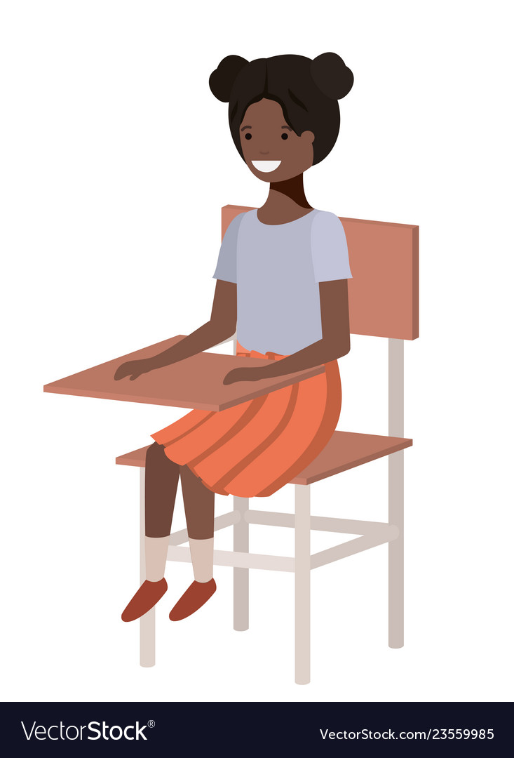 Young student black girl sitting in school chair.