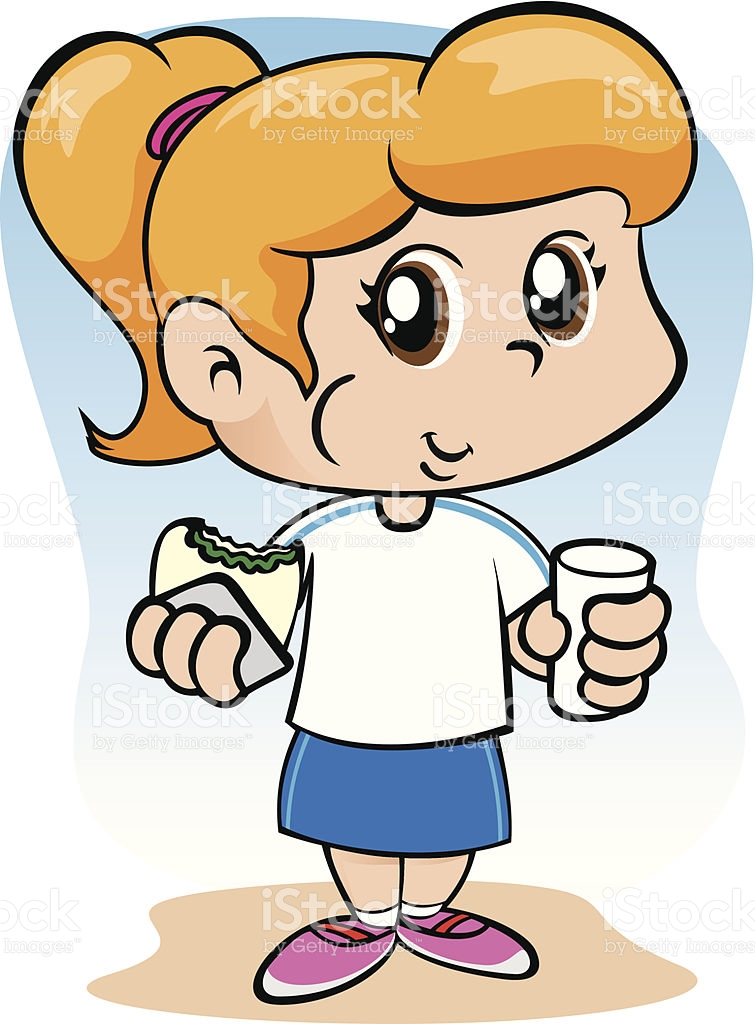 Student Girl Eating A Snack stock vector art 507270953.