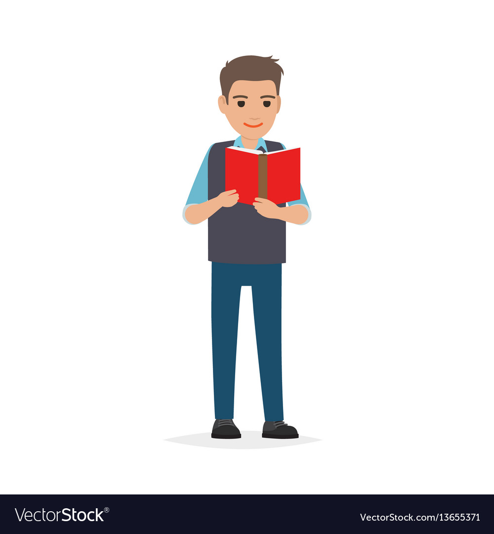 Student standing and reading textbook flat.