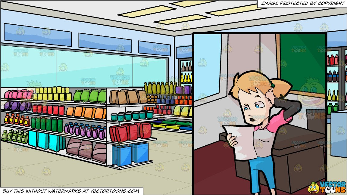 A Female High School Student Having A Hard Time Reading In Front Of The  Class and Inside A Convenience Store Background.