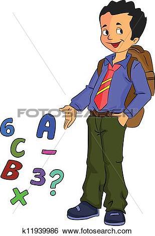Clip Art of Boy Student Learning Math, illustration k11939986.