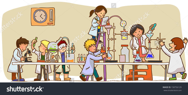 Cartoon Scientist Children Kid Studying Working Stock Vector.