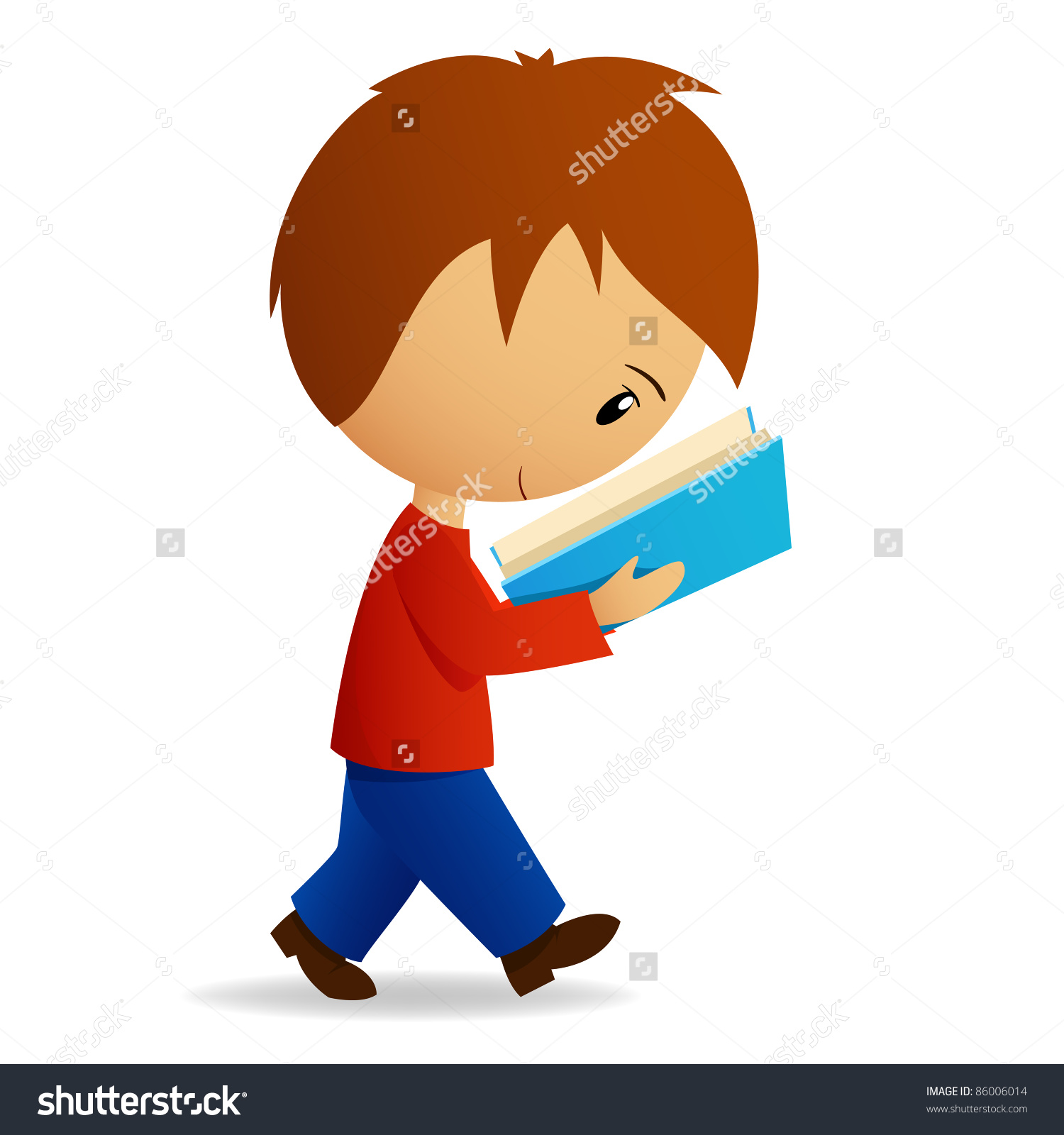 Young Cartoon Male Student Walking Reading Stock Vector 86006014.