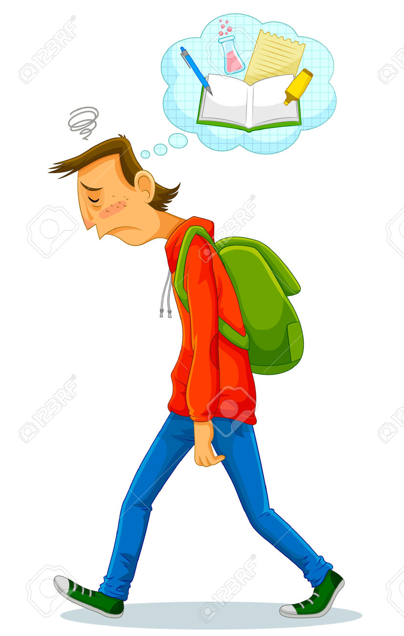 Depressed Student Walking To School And Thinking About Studying.