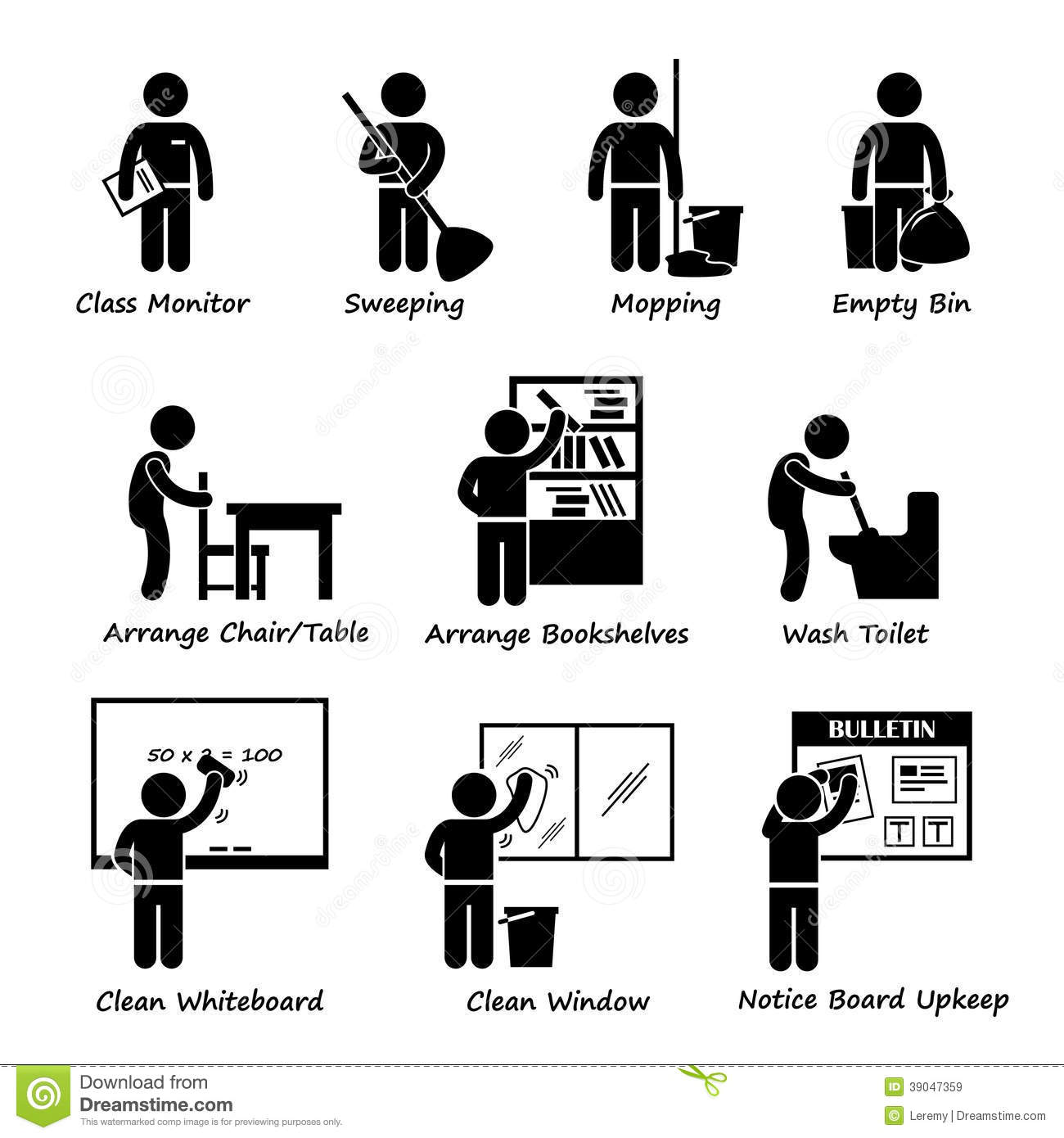 Student Washing Tables Clipart.