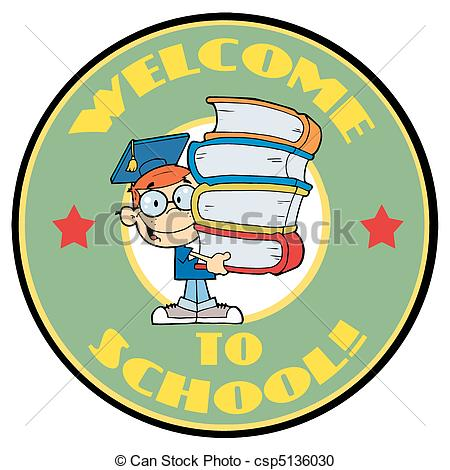 Vector Clipart of Student With Text Welcome to School.