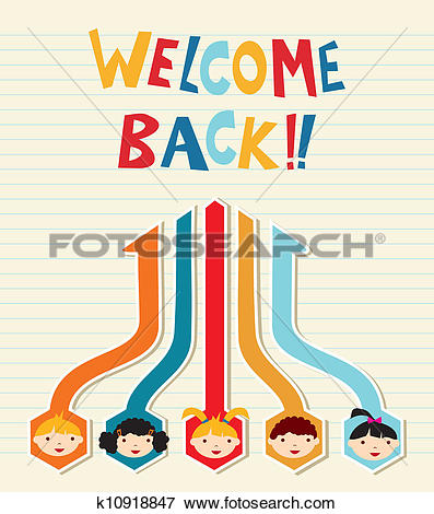 Clip Art of Welcome back to School student network k10918847.