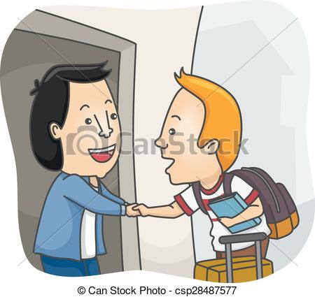 Vectors Illustration of Man Student Homestay Welcome.