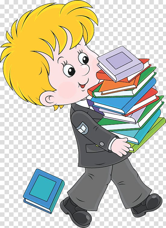 Book Cartoon Illustration, Students holding books.