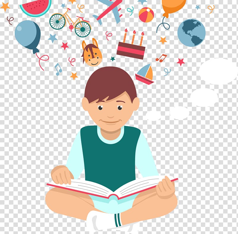 Boy reading books illustration, Student Euclidean Reading.