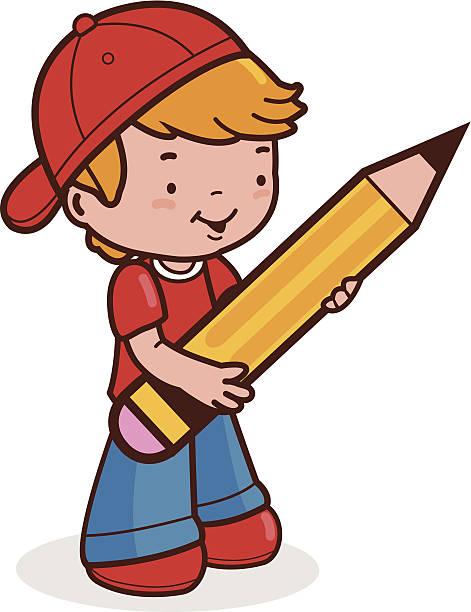 Boy Holding Pencil Clip Art, Vector Images & Illustrations.
