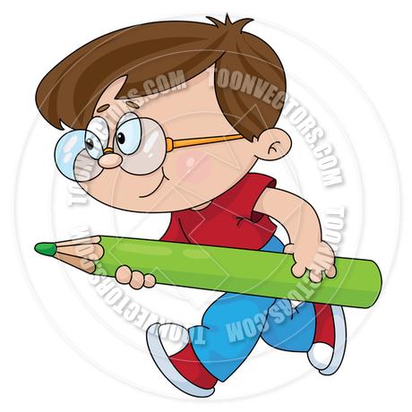 Cartoon Boy Student with a Pencil by polkan.