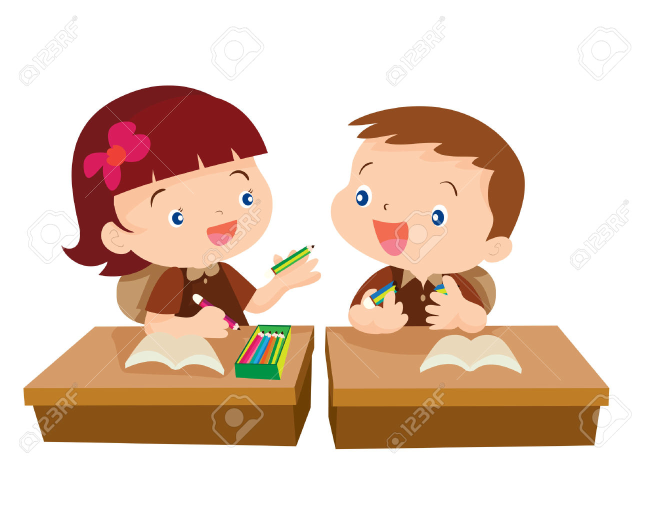 Vector Of Cute Girl Student Giving Pencil For Friend In Classroom.