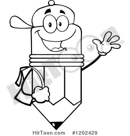 Pencil Clipart #1202429: Black and White Happy Pencil Student.