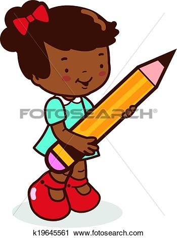 Clipart of girl student holding a big pencil k19645561.