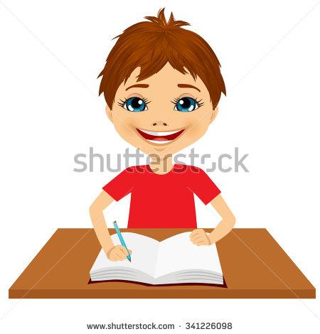 Portrait Cute Little Caucasian Student Boy Stock Vector 346013288.
