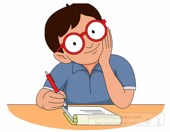 Student Working Or Paper Quickly Clipart.