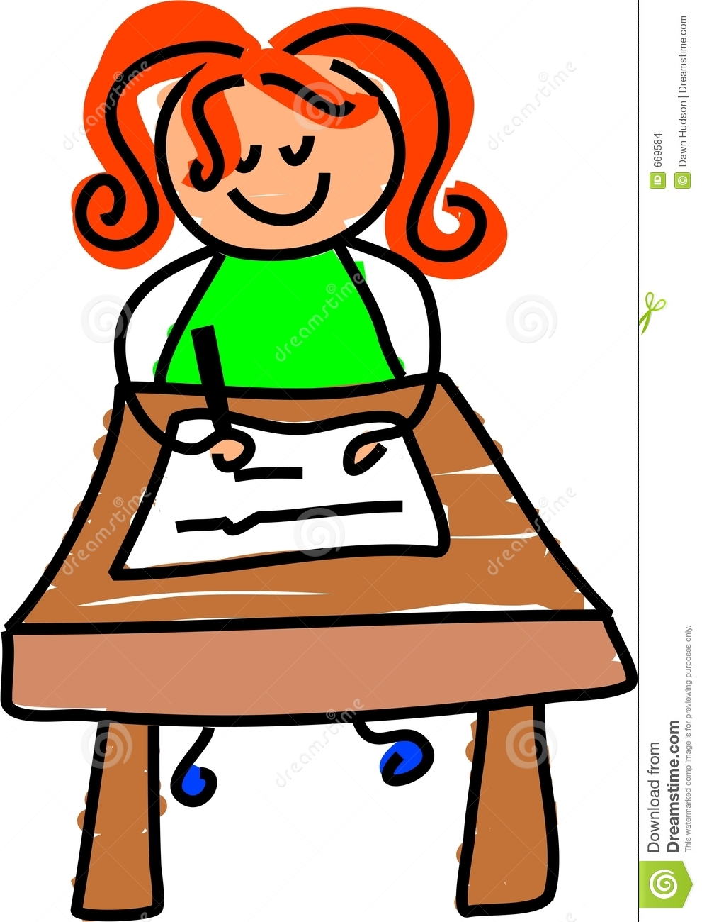 Student Writing Quietly Clipart.