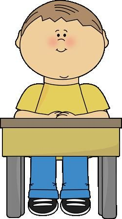 boy sitting at school desk clipart.