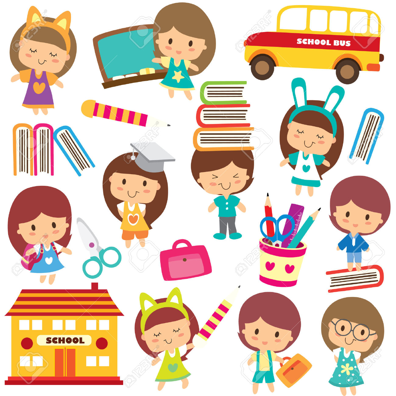 Happy Students Clip Art Royalty Free Cliparts, Vectors, And Stock.