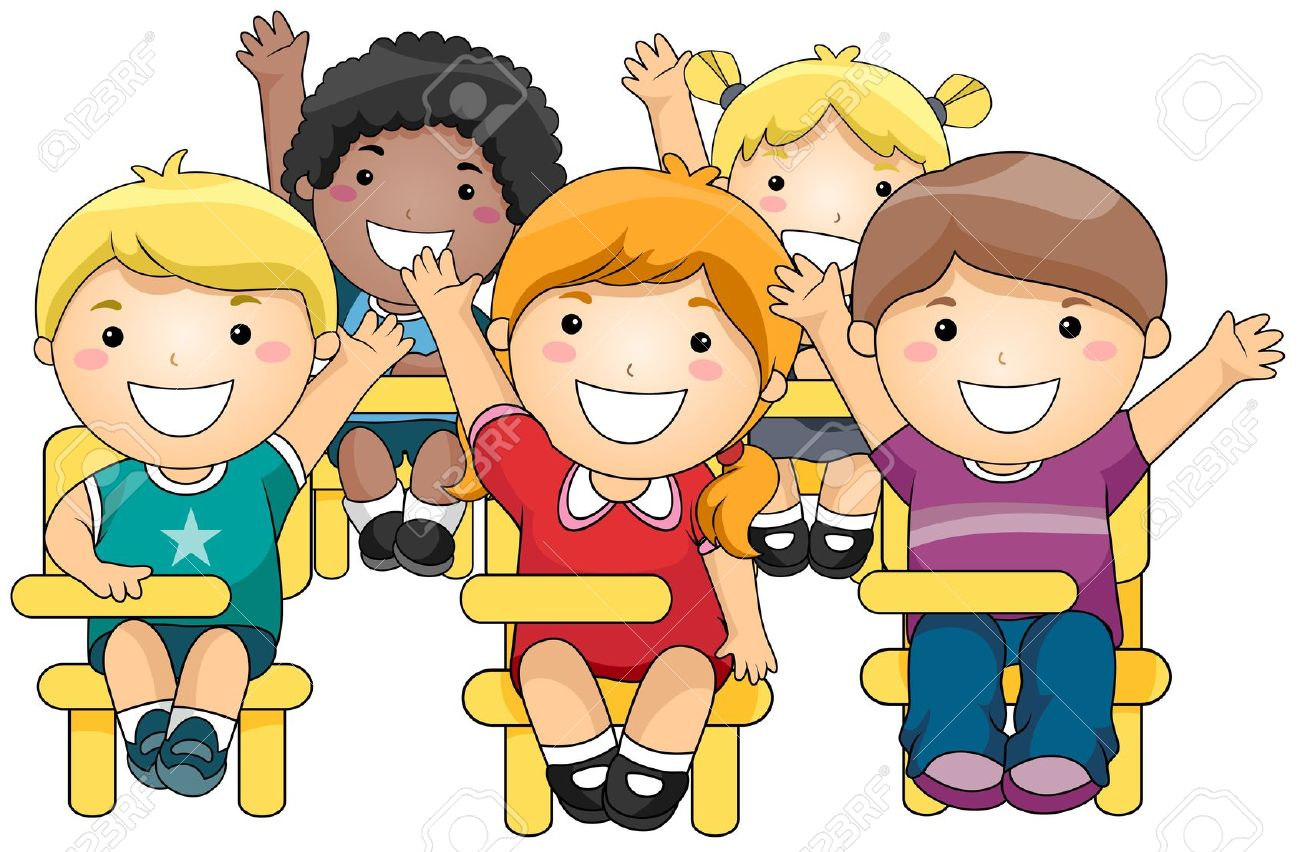 Elementary students working together clip art