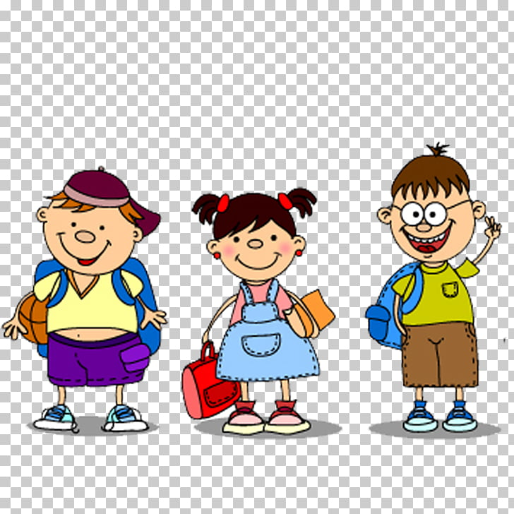 School , Cartoon male and female students PNG clipart.