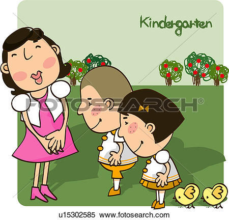 Stock Illustration of propriety, child, greeting, chick.