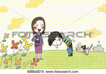 Stock Illustration of The boy greeting to the teacher ti068a0015.