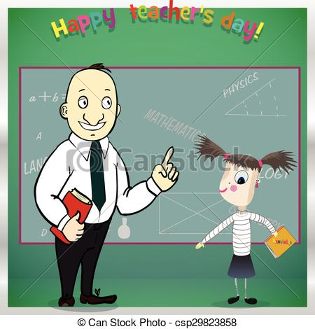 Clipart Vector of Happy teacher day. Template for card.