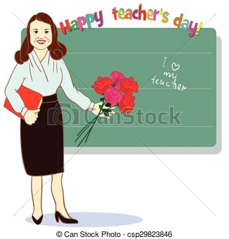 EPS Vector of Happy teacher day. Template for card.Illustration.