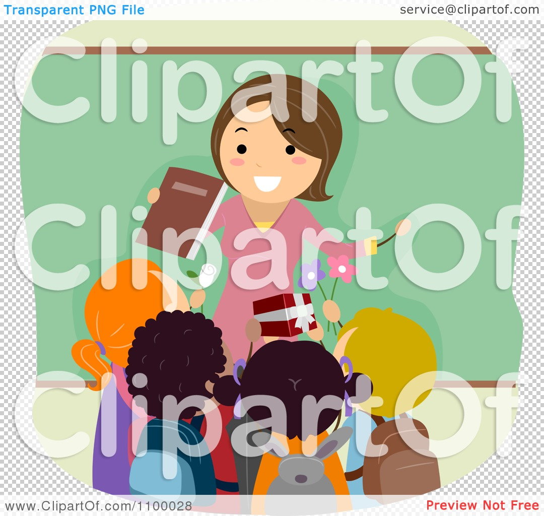 Clipart Friendly Female Teacher Being Greeting With Gifts From.
