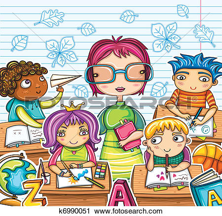 Clipart of Student greeting to the teacher ti027a0111.