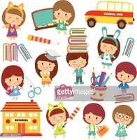 Happy Students Clip Art stock vectors.