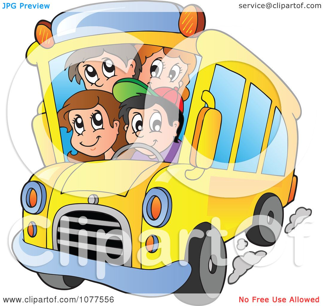 Clipart Happy Students On A School Bus.