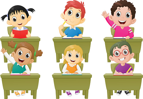 Students Sitting In Classroom Clipart.
