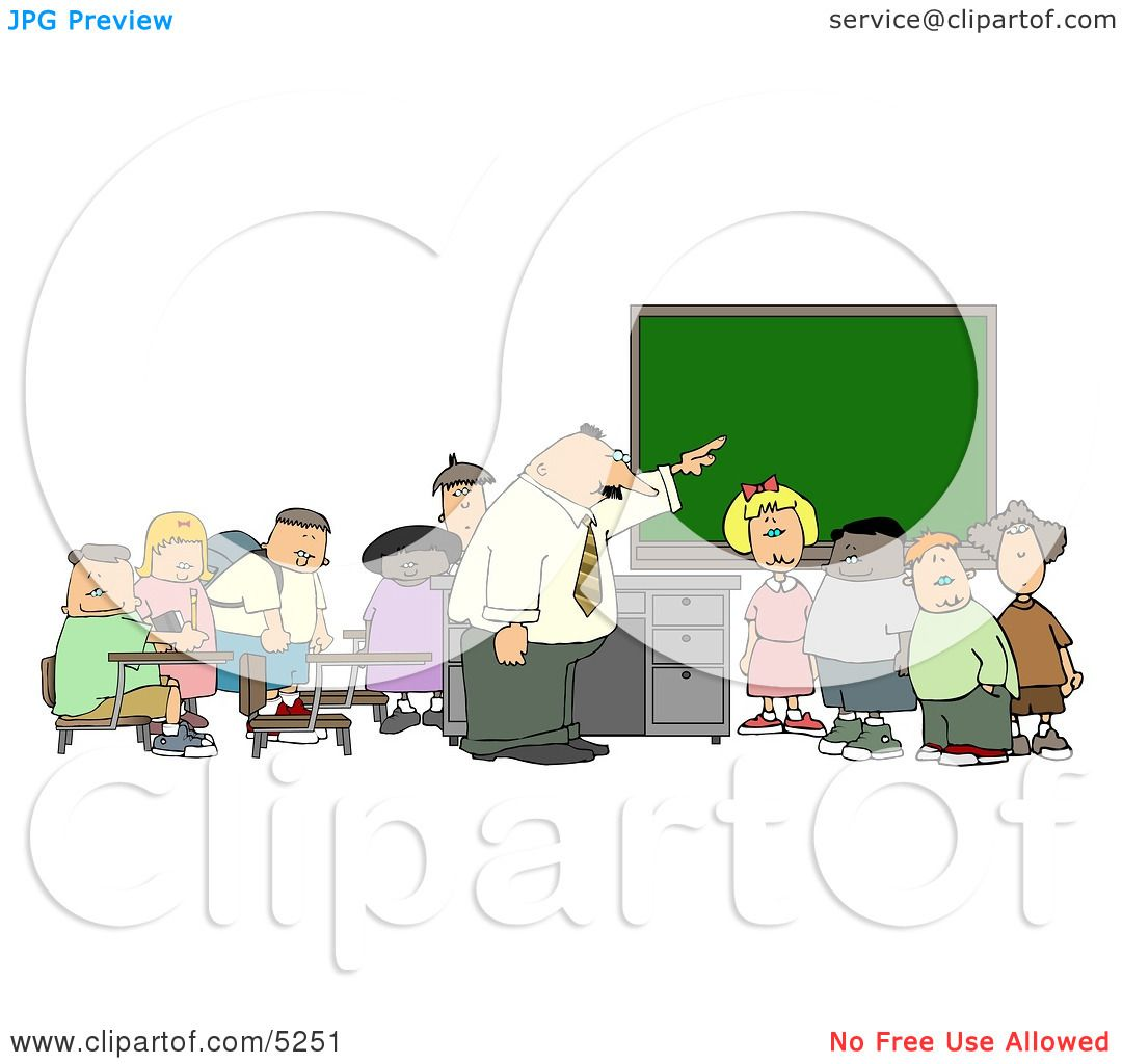 Teacher & Elementary Students in Classroom Clipart by Dennis Cox #5251.