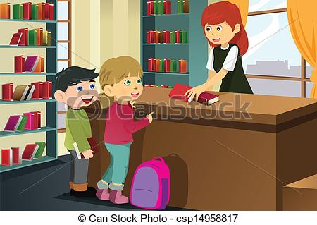 Vector Clip Art of Kids borrowing books in the library.