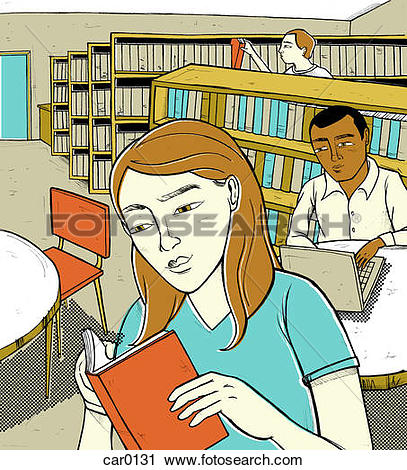 Clipart of Students reading book and using computer in a library.