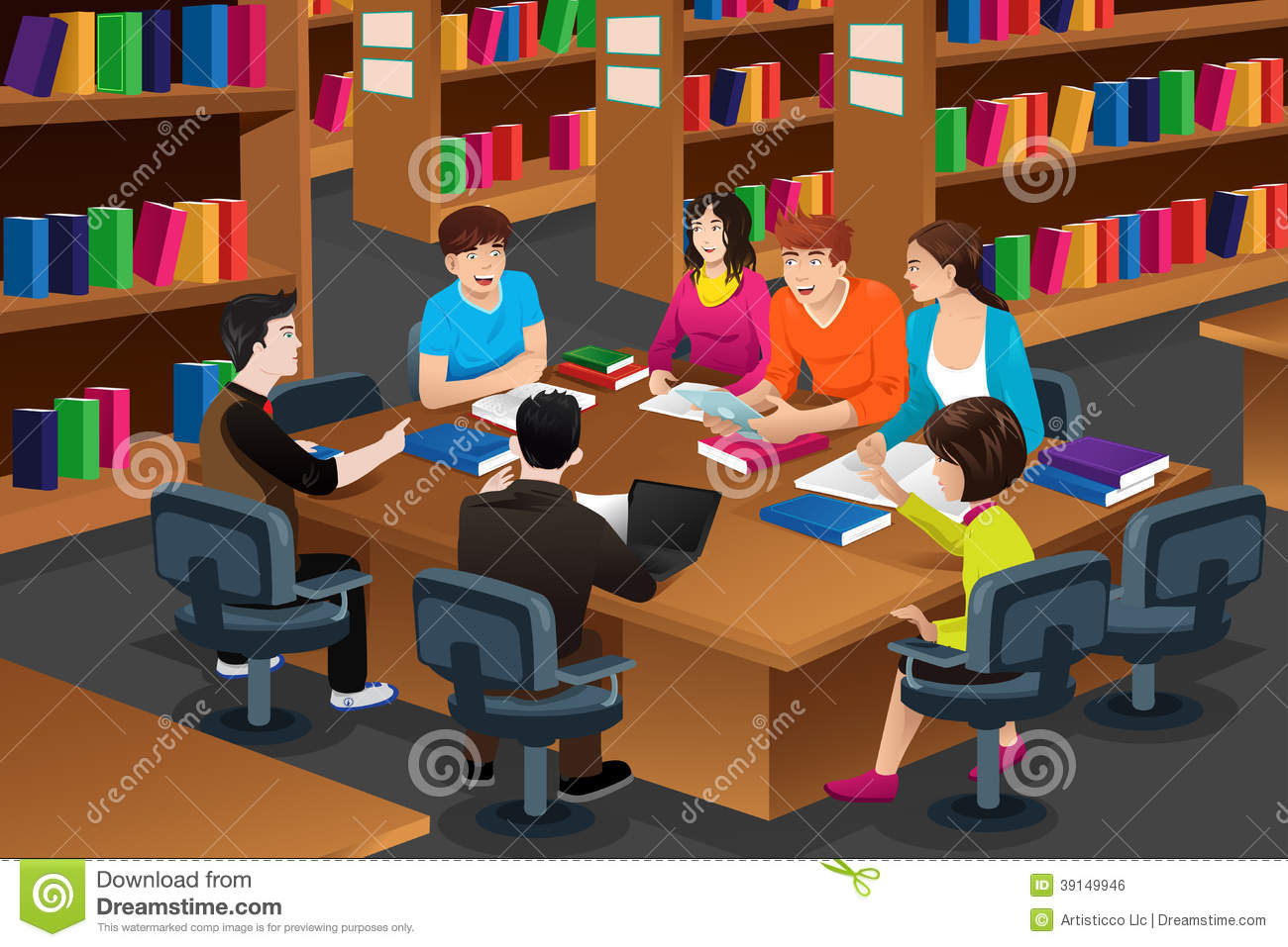 College Students Studying Together In A Library Stock Image.