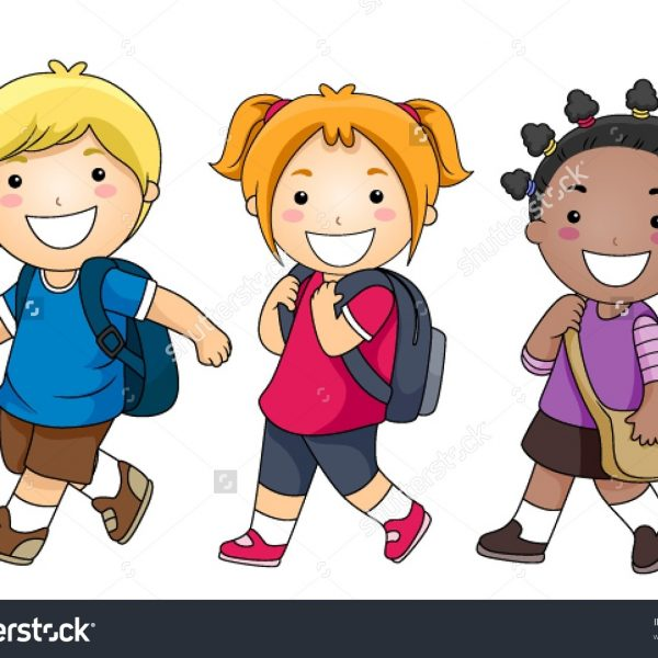 Clipart Walk To School within Students Walking To School.